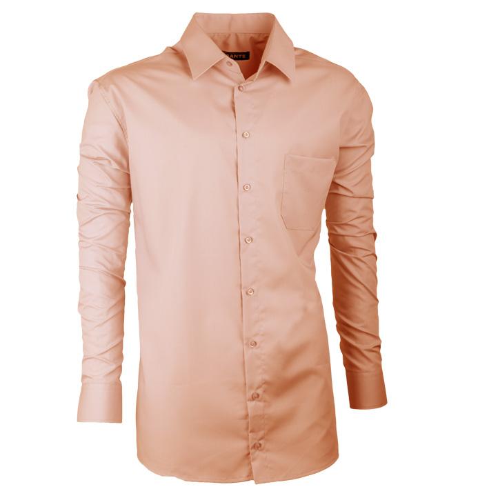 Pánská košile v prodloužené délce lososová slim fit Assante 20203