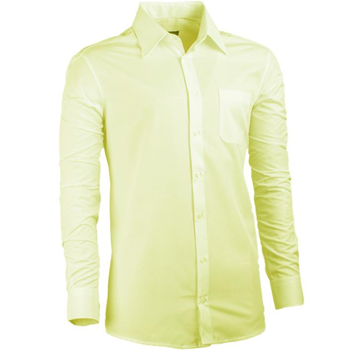 Prodloužená pánská košile žlutá regular fit Assante 20102