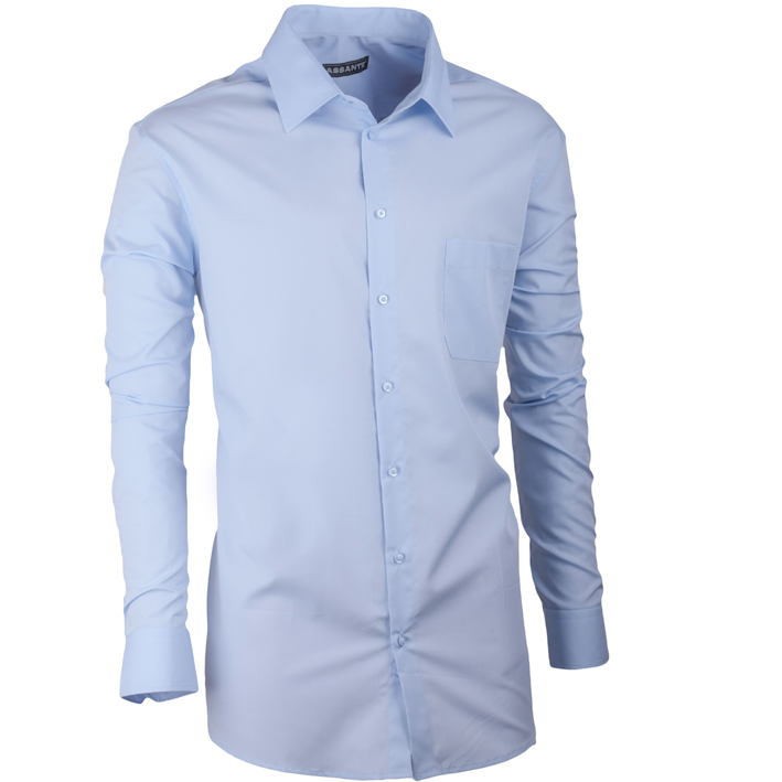 Prodloužená pánská košile modrá slim fit Assante 20604 velikost 37/38 (S)