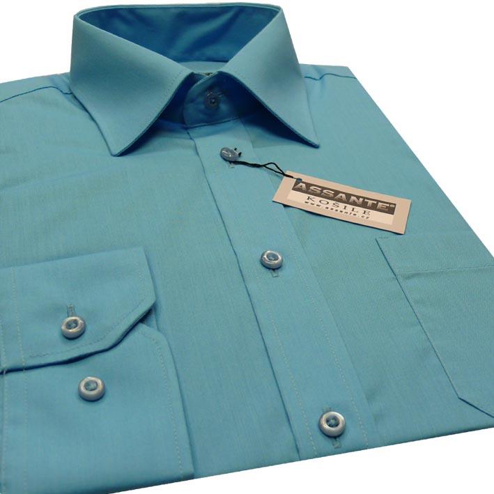 Prodloužená pánská košile tyrkysová modrá Assante 20602