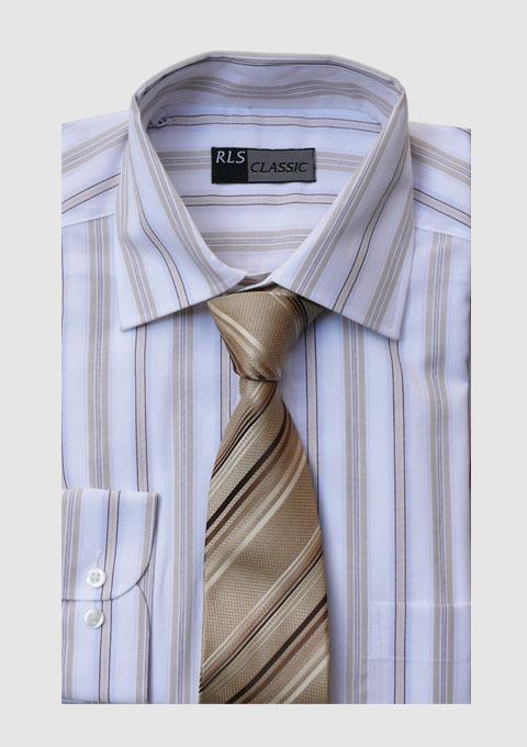 Prodloužená pánská košile bílá RLS 20605