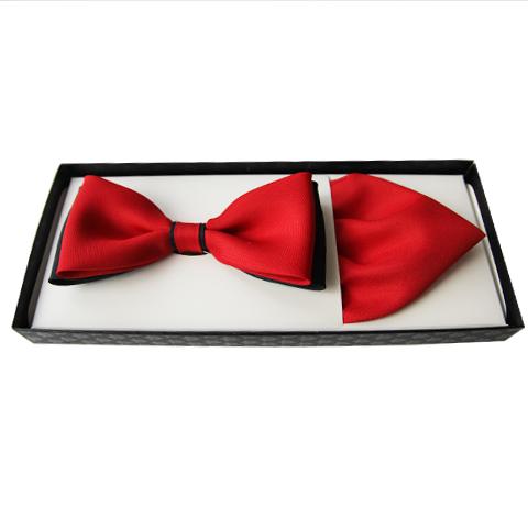Červený pánský motýlek s kapesníčkem Assante 90350