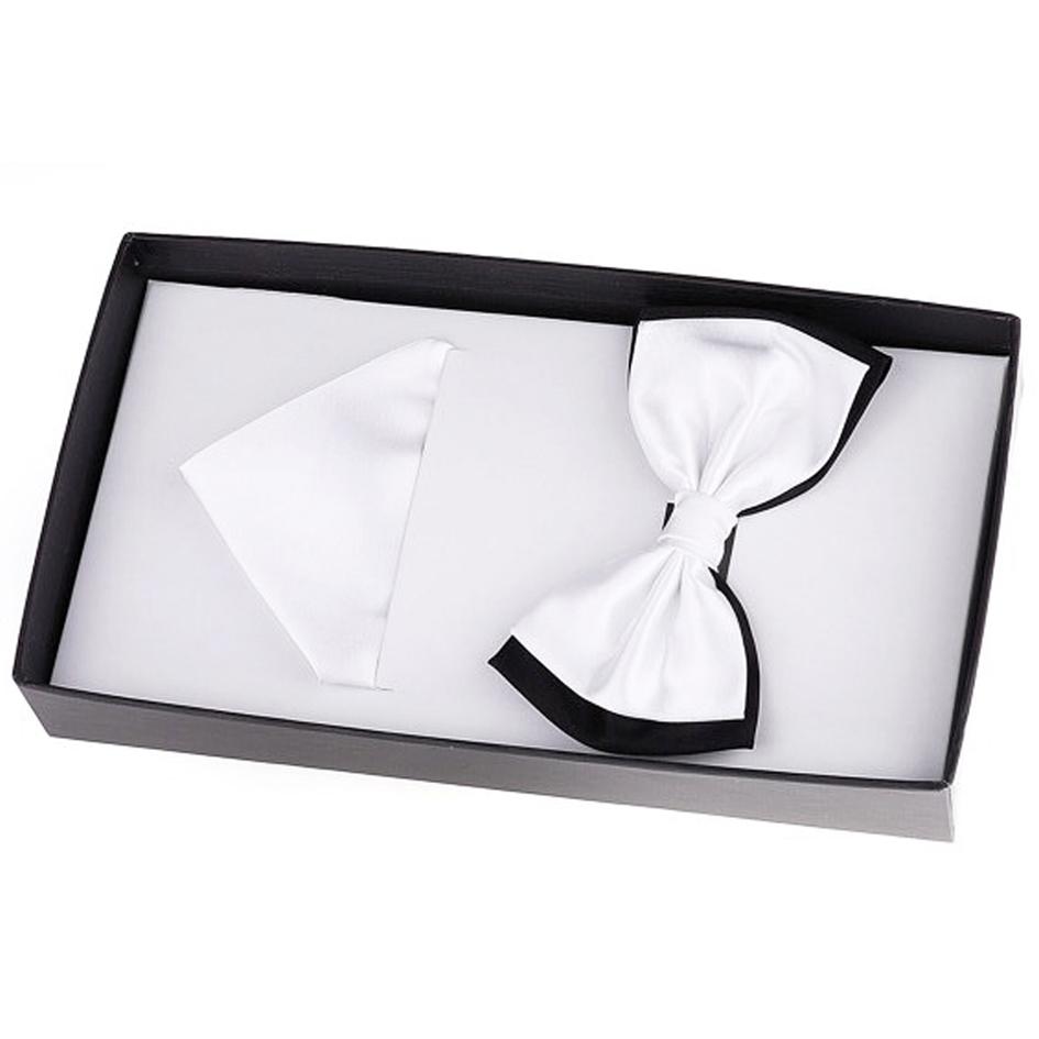 Bílý luxusní saténový motýlek s kapesníčkem Assante 90391 velikost Uni