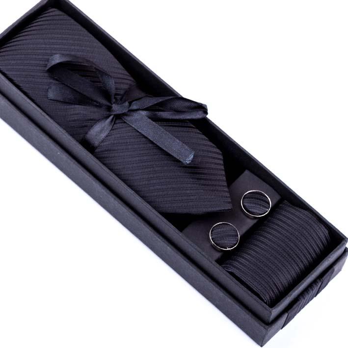 Černá kravata s kapesníčkem a manžetovými knoflíky Assante 90402