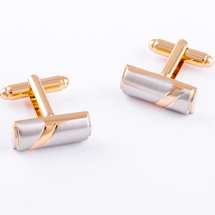Manžetové knoflíčky  kombinované zlato stříbrné barvy Assante 90551