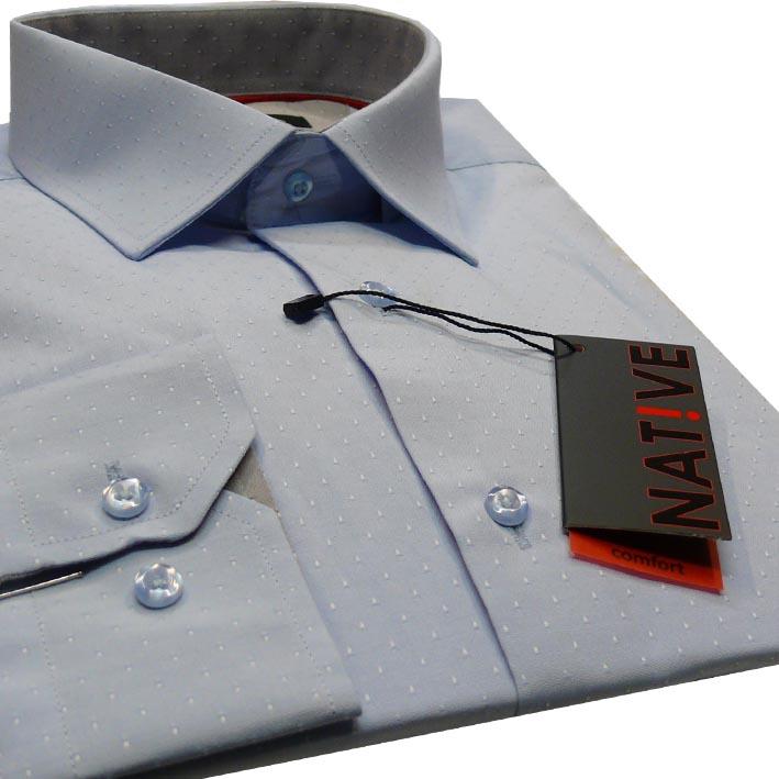 Modrá pánská košile s dlouhým rukávem rovná Native 30650