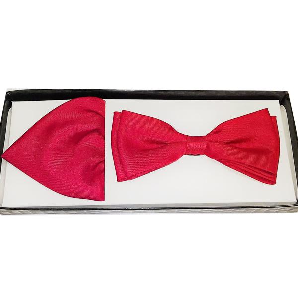 Červený pánský motýlek s kapesníčkem Assante 90358