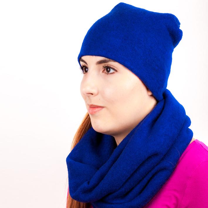Modrá pletená souprava čepice a šála zimní Assante 88034