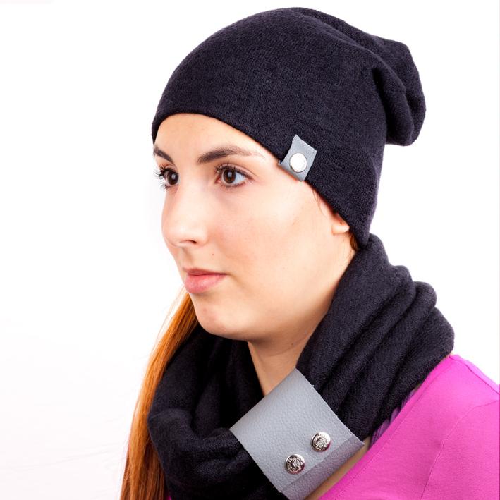 Černá pletená souprava čepice a šála zimní Assante 88040