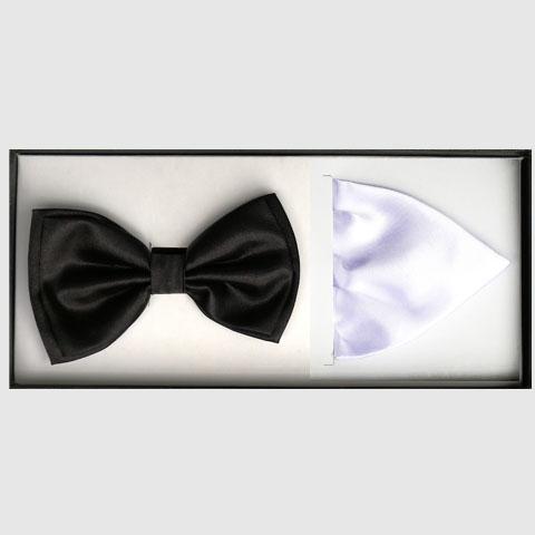 Černý motýlek s kapesníkem Assante 90395