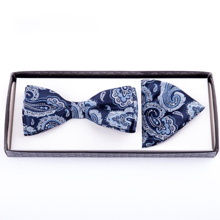Modrý pánský motýlek s kapesníčkem Assante 90213