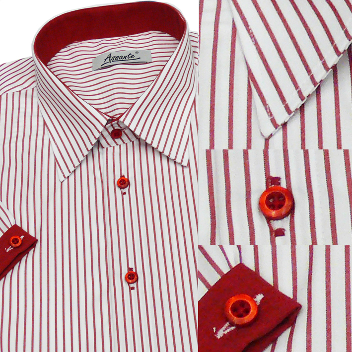 Pánská košile bílo červená  Assante 40608