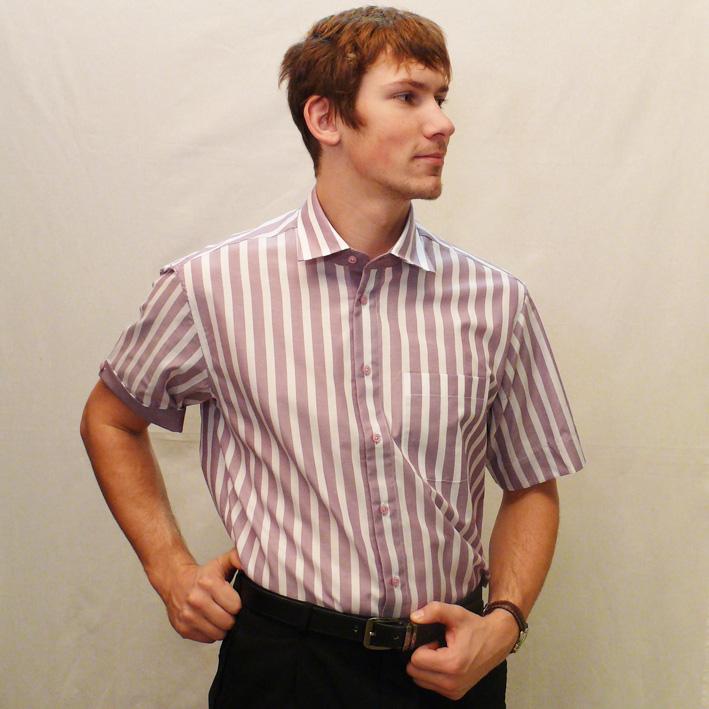 Slim fit pánská košile s krátkým rulávem fialová bílá Assante 40676