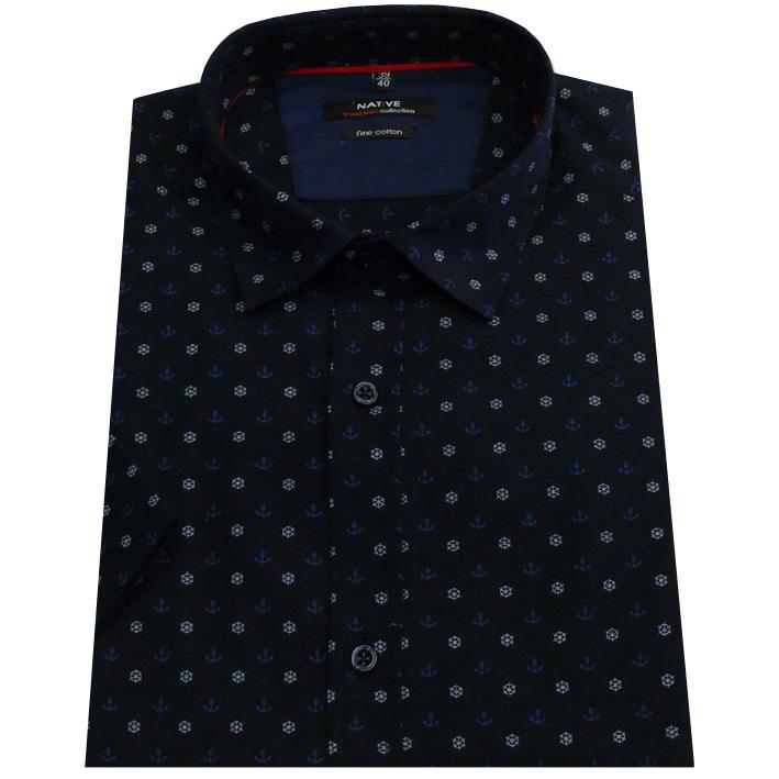 Pánská košile s krátkým rukávem modrá 100% bavlna Native 40705