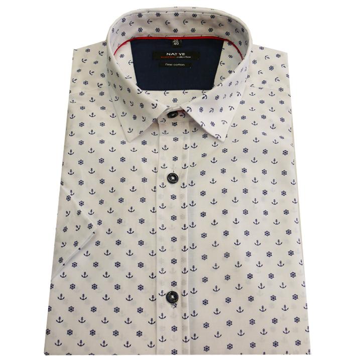 Pánská košile s krátkým rukávem bílá 100% bavlna Native 40706