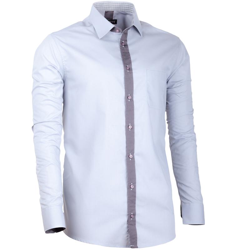 Šedá pánská košile s dlouhým rukávem rovná Assante 30638