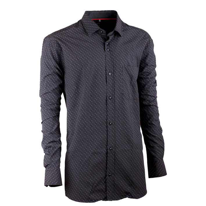 Černá pánská košile s dlouhým rukávem slim fit Native 30641
