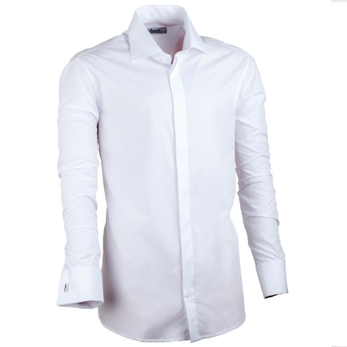 Bílá pánská košile na manžetový knoflík slim fit Assante 30018