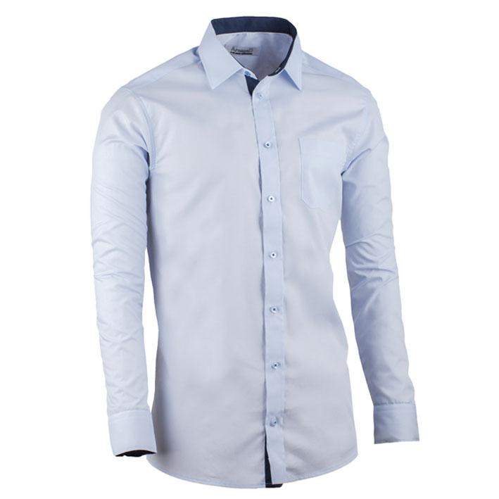 Modrá pánská košile slim fit kombinovaná Aramgad 30482 velikost 37/38 (S)