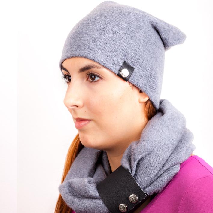 Šedá pletená souprava čepice a šála zimní Assante 88042