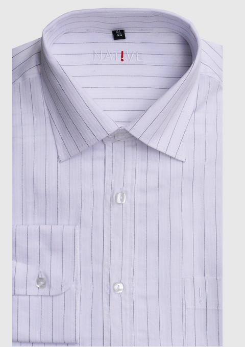 Bílá pánská košile s dlouhým rukávem slim fit Native 30660