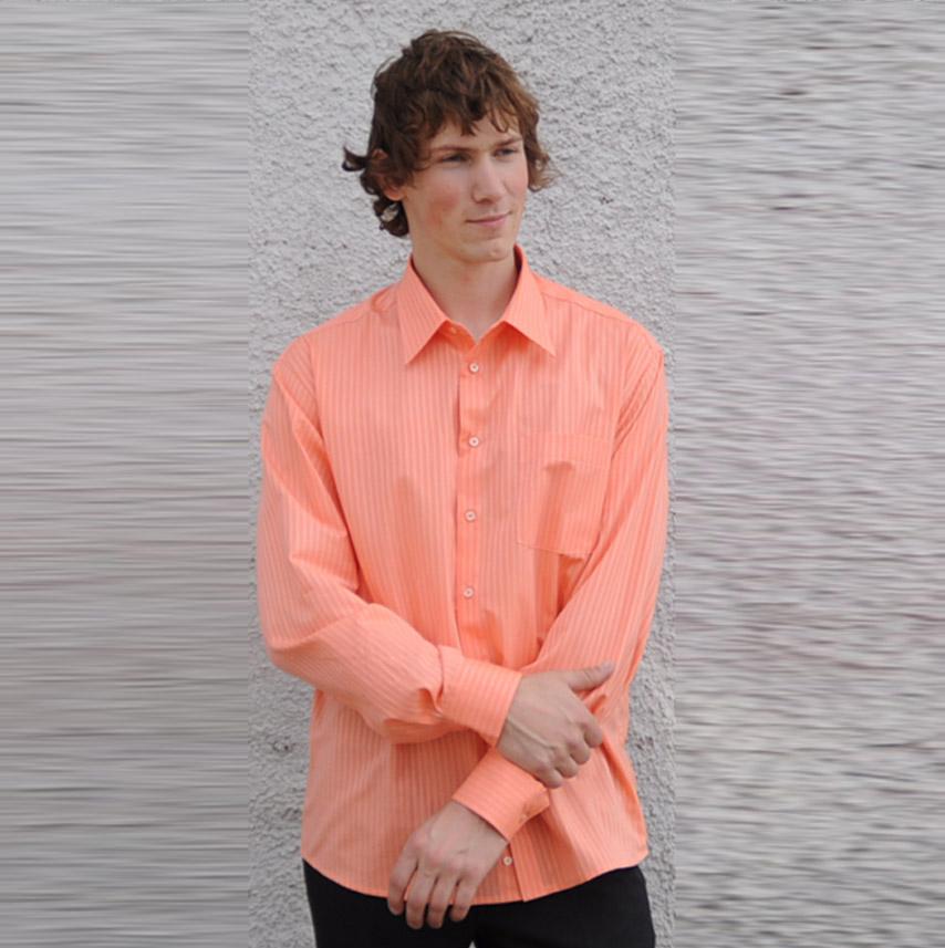 Oranžová pánská košile s dlouhým rukávem rovná Assante 30611