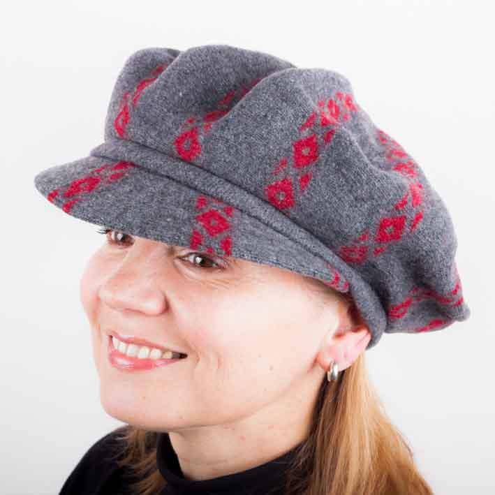 Šedý dámský baret  s kšiltem z čisté vlny Tonak 87205
