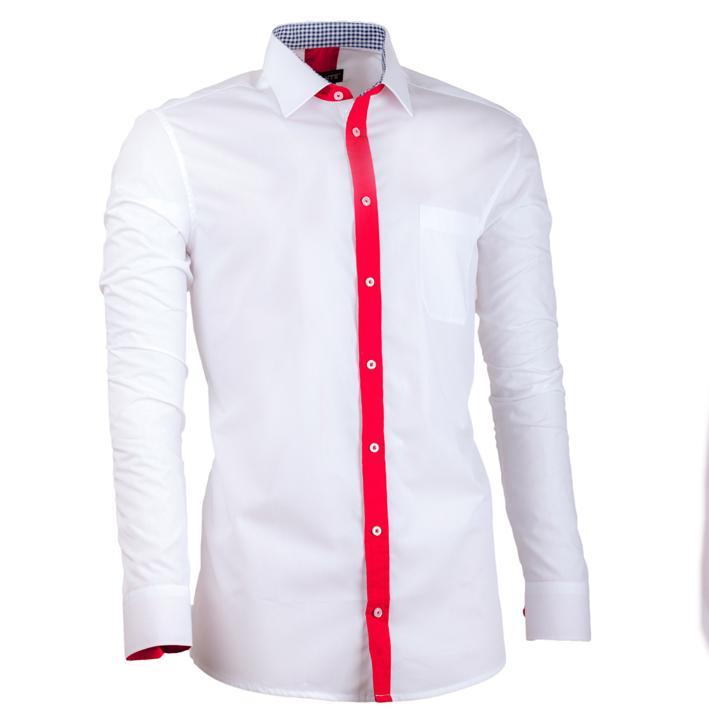 Bílá pánská košile s dlouhým rukávem slim fit Assante 30683