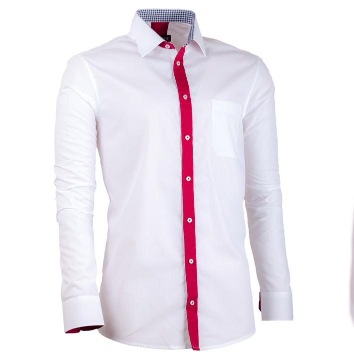 Pánská košile bílá kombinovaná s červenou barvou Assante 30684