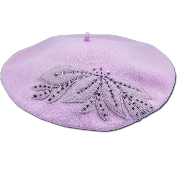 Fialový dámský baret luxusní Tonak 87294