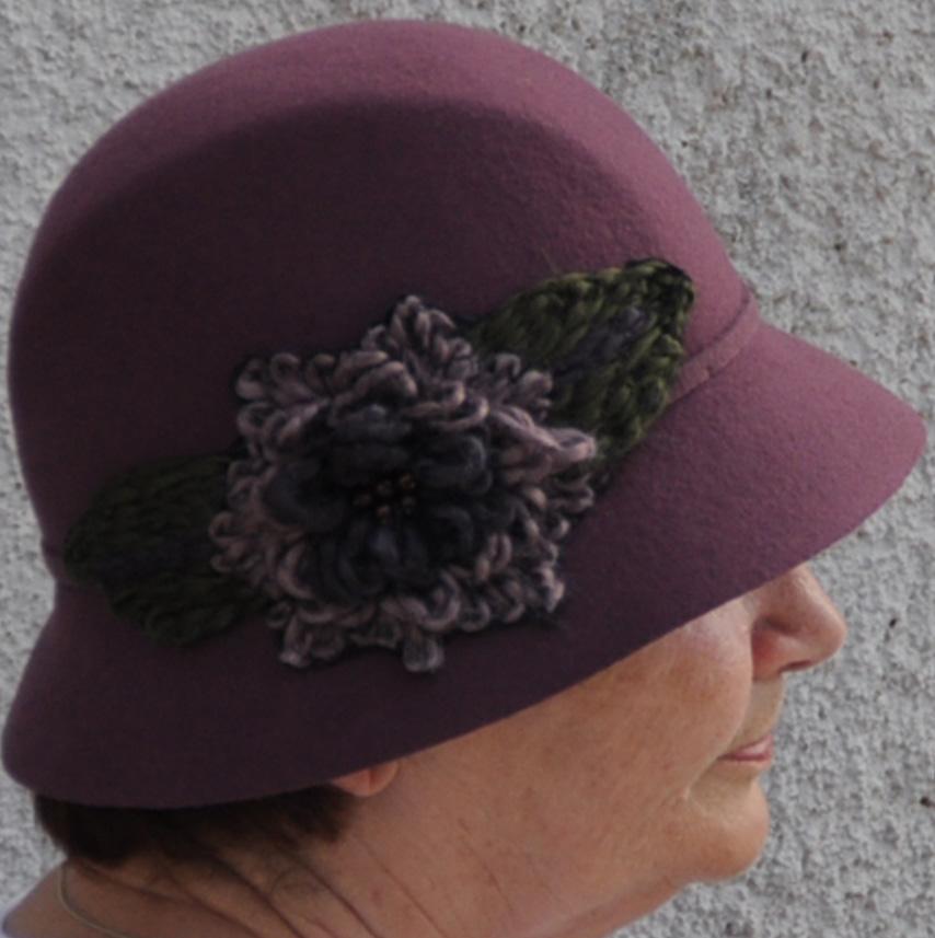 Fialový luxusní dámský klobouk Anytra 87098