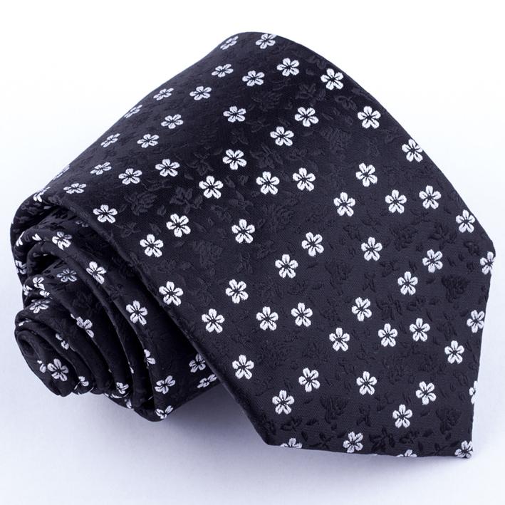 Šedočerná kravata květinová Greg 91053