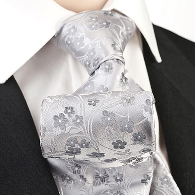 Svatební kravata šedá květinový vzor Greg 91066