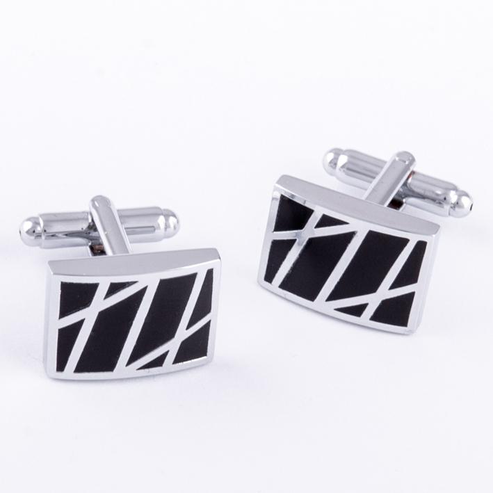 Manžetové knoflíčky černo stříbrné barvy Assante 90545