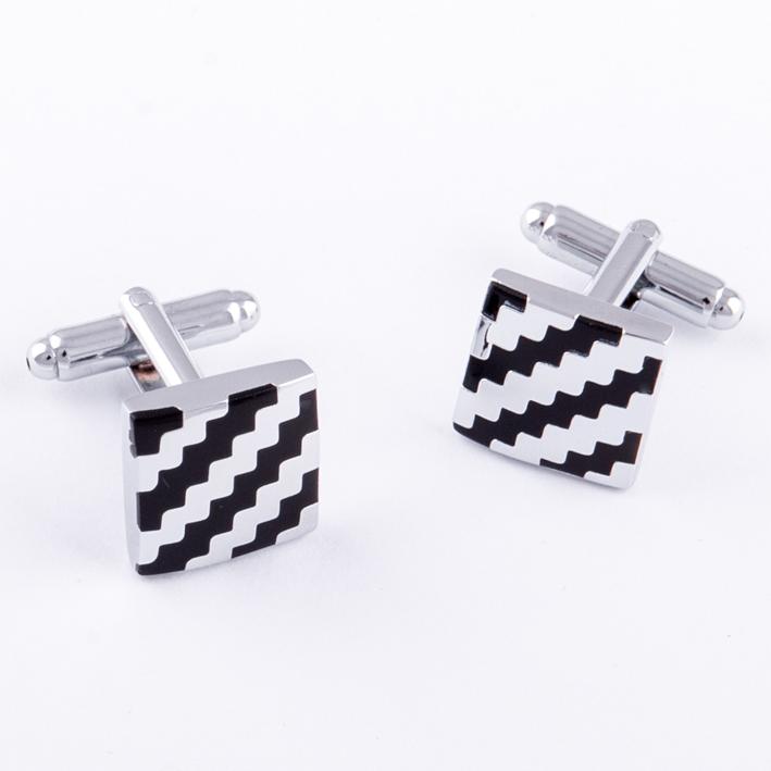 Manžetové knoflíčky stříbrno černé barvy Assante 90544