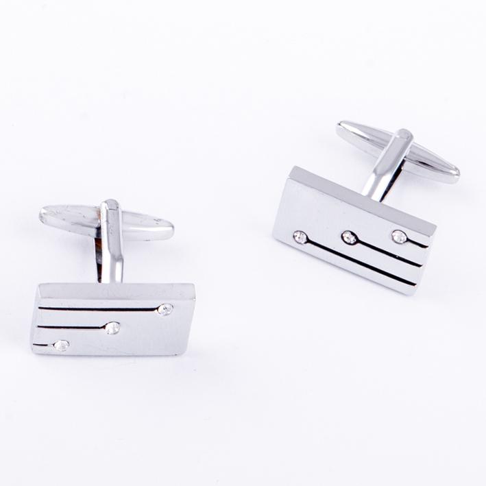 Manžetové knoflíčky stříbrné s kamínky  Assante 90548