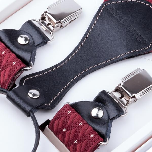 Luxusní červené kšandy s hedvábným leskem kožená poutka Assante 90051