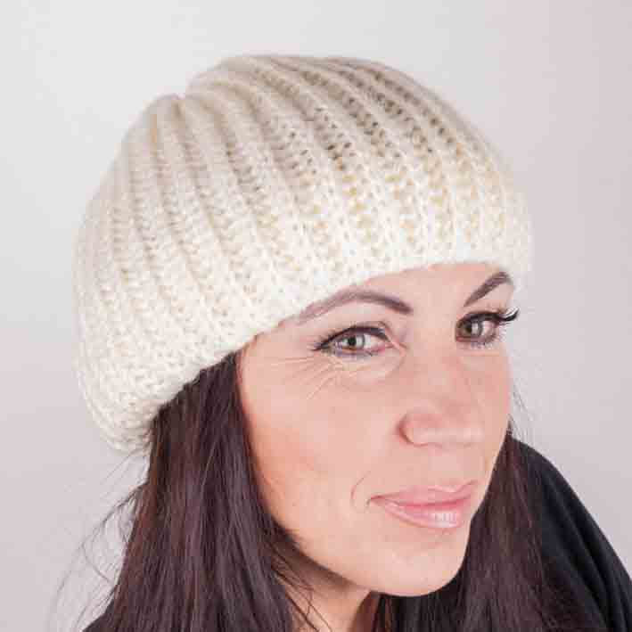 Smetanová pletená čepice zimní Pletex 88217