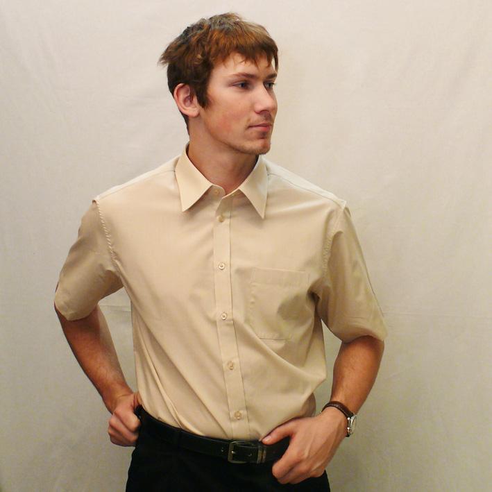Béžová pánská košile s krátkým rukávem slim fit Assante 40224