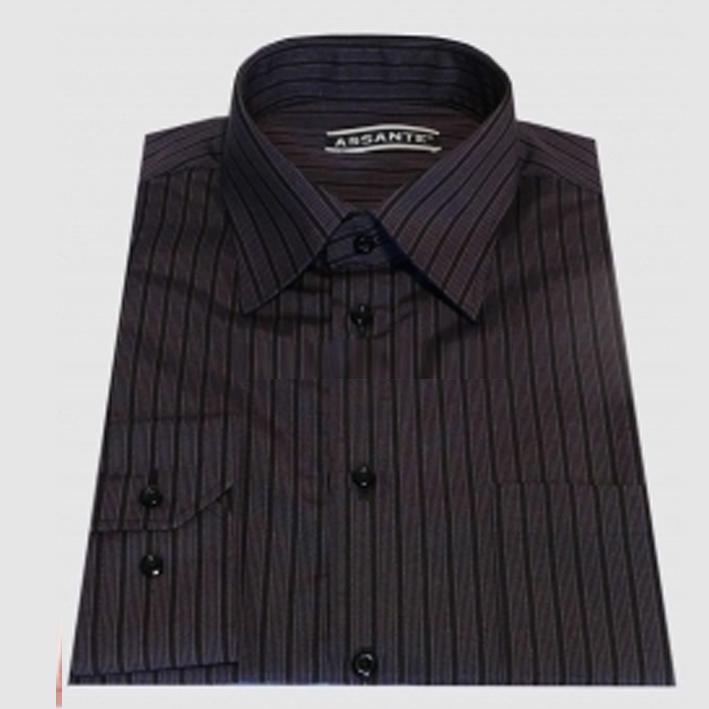 Prodloužená pánská košile šedo fialová Assante 20613