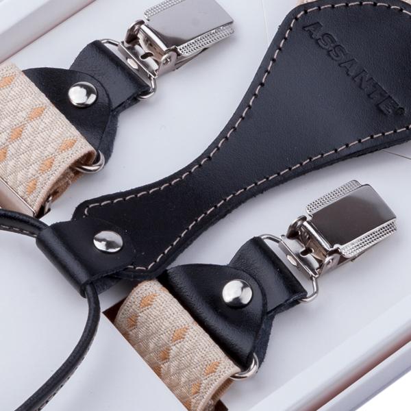 Luxusní béžové kšandy s hedvábným leskem kožená poutka Assante 90058
