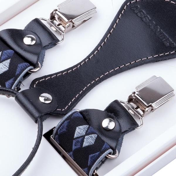 Luxusní černošedé kšandy s hedvábným leskem kožená poutka Assante 90059