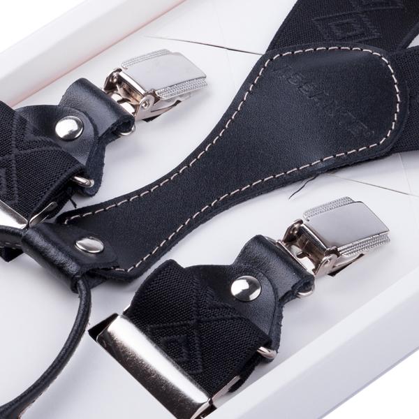 Luxusní černé kšandy s hedvábným leskem kožená poutka Assante 90062