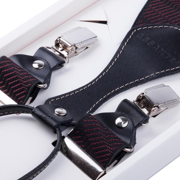 Luxusní černovínové kšandy s hedvábným leskem kožená poutka Assante 90066