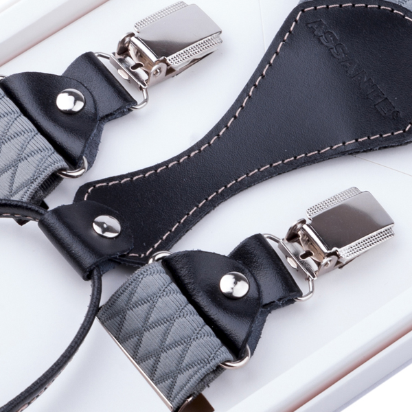 Luxusní šedé kšandy s hedvábným leskem kožená poutka Assante 90053