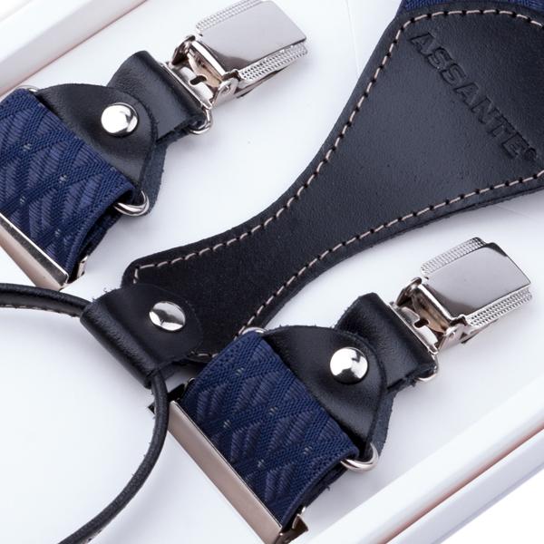 Luxusní modré kšandy s hedvábným leskem kožená poutka Assante 90054 velikost Uni