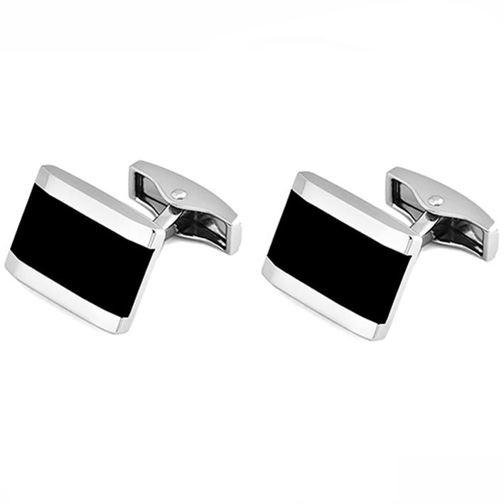 Černostříbrné manžetové knoflíčky Assante 90511