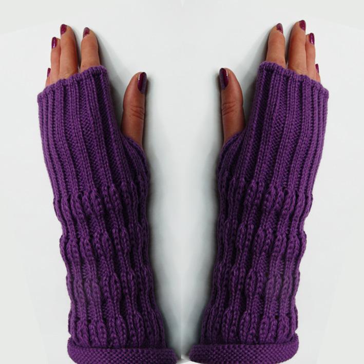 Fialové návleky na ruce, rukavice bez prstů Pletex 89774