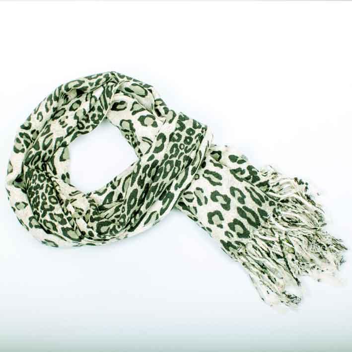 Zelená šála – šál vzor leopard Assante 89137