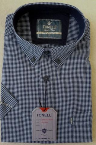 Modrá pánské košile krátký rukáv 100% Bavlna rukáv Tonelli 110802
